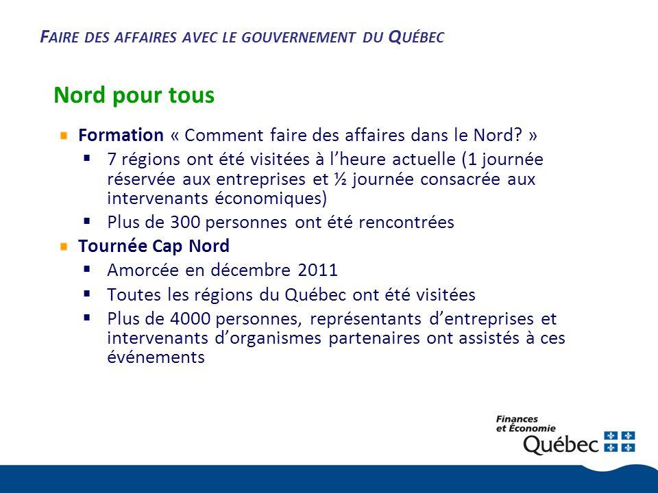 F AIRE DES AFFAIRES AVEC LE GOUVERNEMENT DU Q UÉBEC Nord pour tous Formation « Comment faire des affaires dans le Nord.