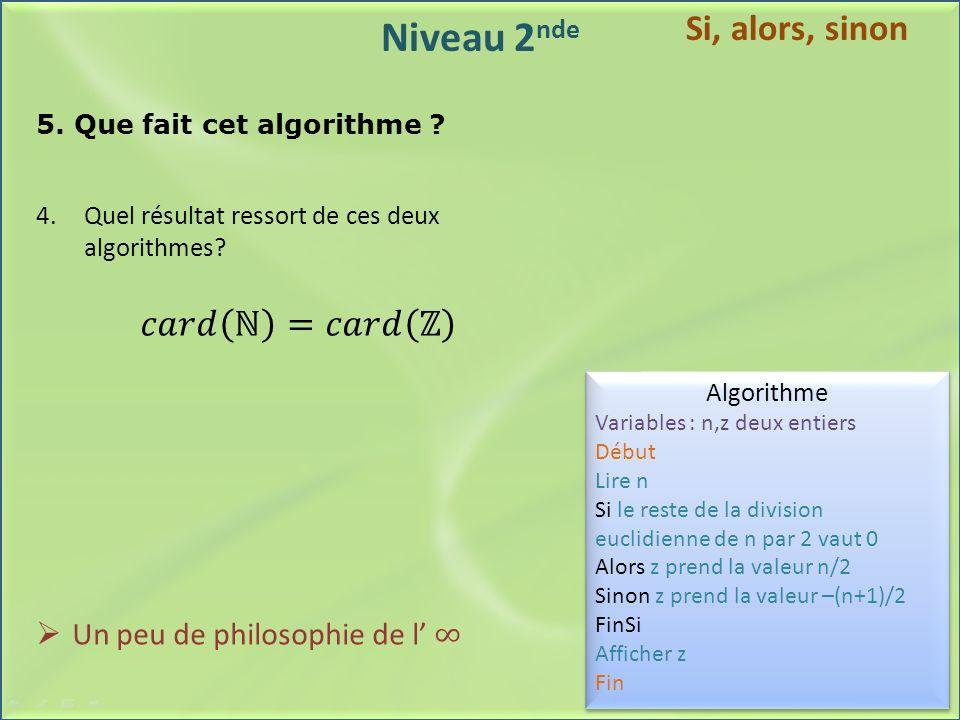 Niveau 2 nde 5. Que fait cet algorithme ? Algorithme Variables : n,z deux entiers Début Lire n Si le reste de la division euclidienne de n par 2 vaut