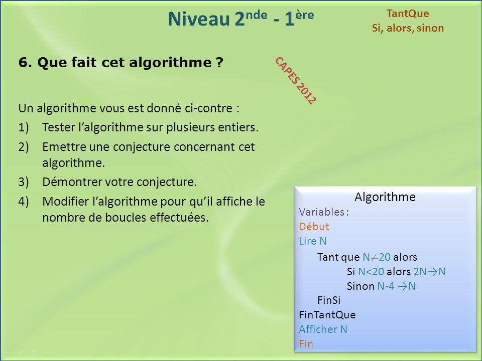 Niveau 2 nde - 1 ère 6. Que fait cet algorithme ? Un algorithme vous est donné ci-contre : 1)Tester lalgorithme sur plusieurs entiers. 2)Emettre une c