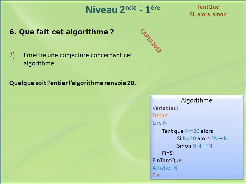 Niveau 2 nde - 1 ère 6. Que fait cet algorithme ? 2)Emettre une conjecture concernant cet algorithme Quelque soit lentier lalgorithme renvoie 20. Algo
