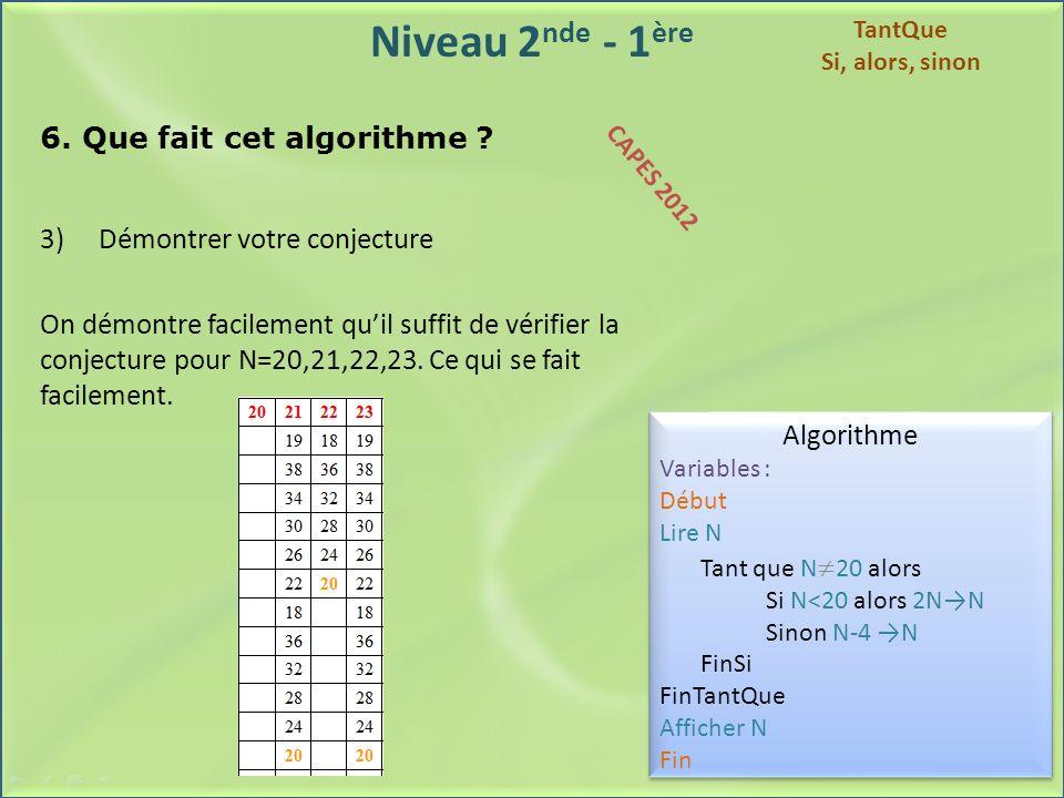 Niveau 2 nde - 1 ère 6. Que fait cet algorithme ? 3) Démontrer votre conjecture On démontre facilement quil suffit de vérifier la conjecture pour N=20
