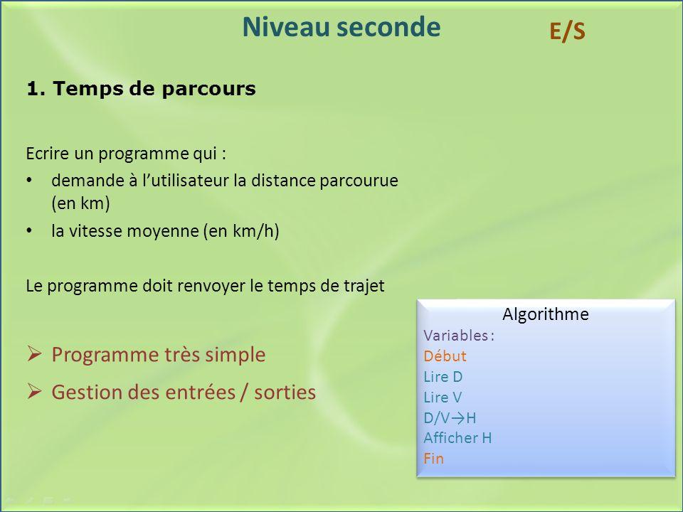 Niveau seconde 1. Temps de parcours Ecrire un programme qui : demande à lutilisateur la distance parcourue (en km) la vitesse moyenne (en km/h) Le pro