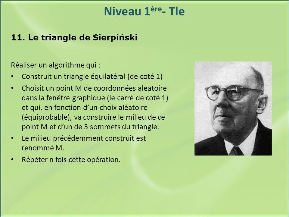 Niveau 1 ère - Tle 11. Le triangle de Sierpiński Réaliser un algorithme qui : Construit un triangle équilatéral (de coté 1) Choisit un point M de coor