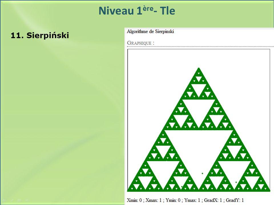 Niveau 1 ère - Tle 11. Sierpiński