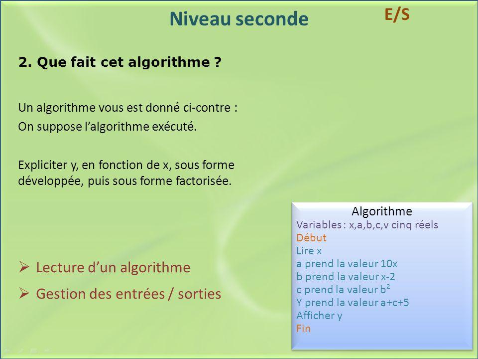 Niveau seconde 2. Que fait cet algorithme ? Un algorithme vous est donné ci-contre : On suppose lalgorithme exécuté. Expliciter y, en fonction de x, s