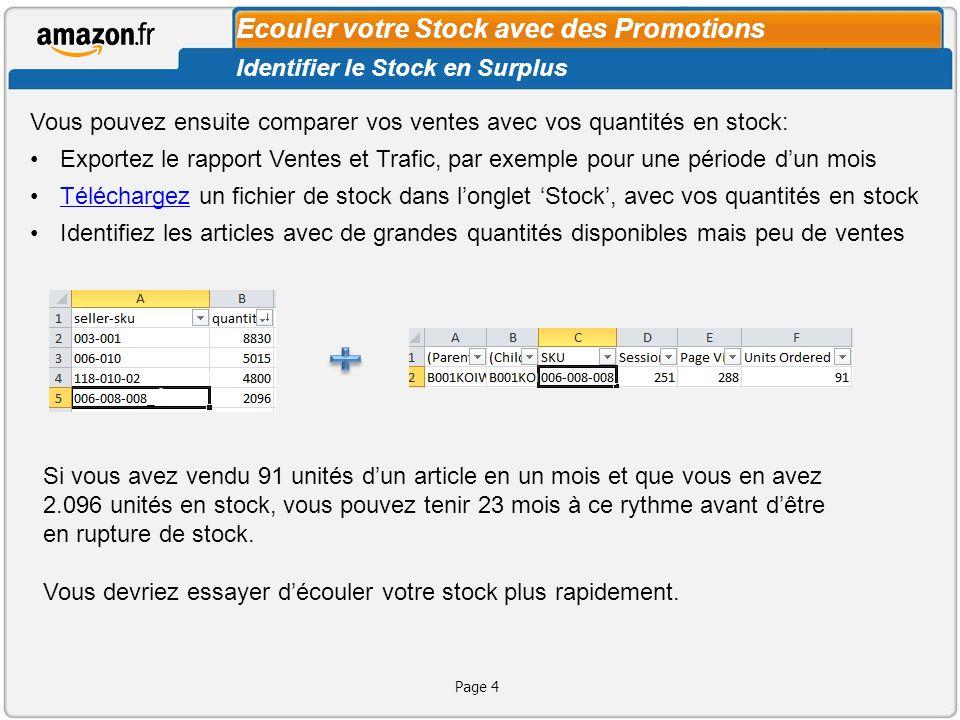 Ecouler votre Stock avec des Promotions Page 4 Vous pouvez ensuite comparer vos ventes avec vos quantités en stock: Exportez le rapport Ventes et Traf
