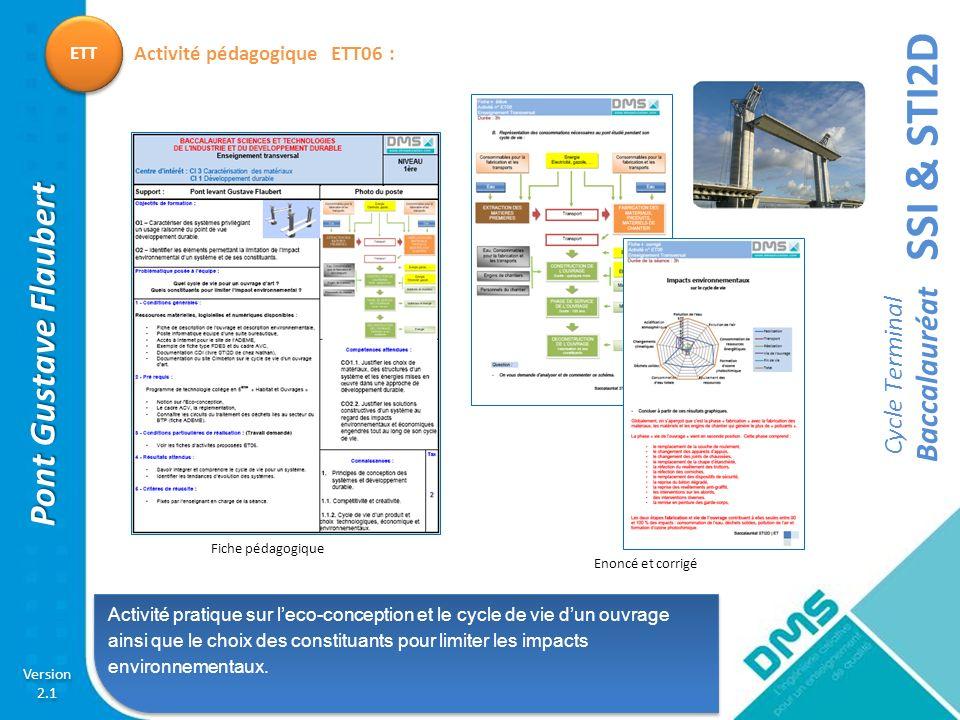 SSI & STI2D Cycle Terminal Baccalauréat Version 2.1 Version 2.1 Pont Gustave Flaubert ETT Activité pratique sur leco-conception et le cycle de vie dun