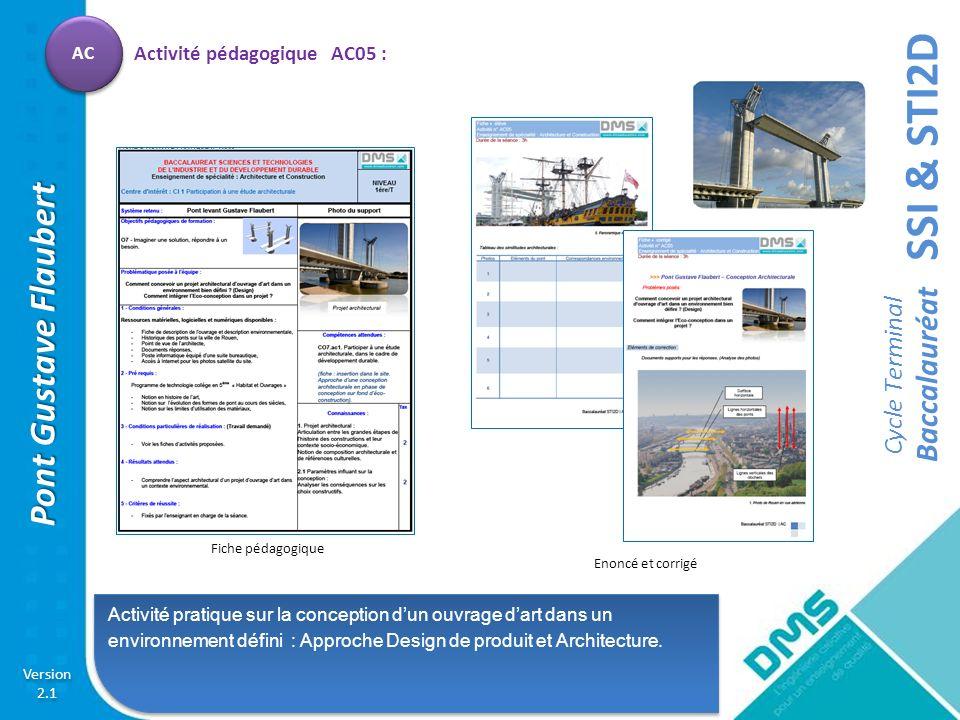 SSI & STI2D Cycle Terminal Baccalauréat Version 2.1 Version 2.1 Pont Gustave Flaubert AC Activité pratique sur la conception dun ouvrage dart dans un