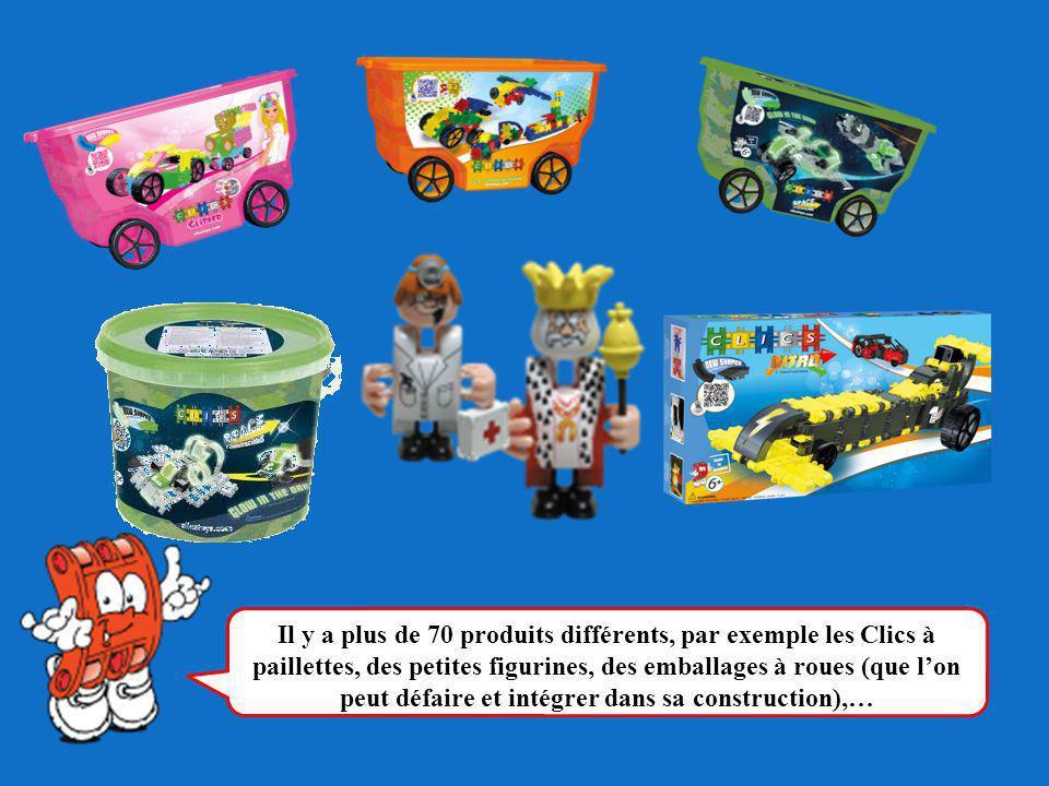 Il y a plus de 70 produits différents, par exemple les Clics à paillettes, des petites figurines, des emballages à roues (que lon peut défaire et inté