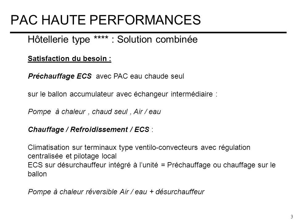 PAC HAUTE PERFORMANCES 4 Hôtellerie type **** : Solution combinée Méthodologie: Processus en 4 étapes sur ballon échangeur de barrage : Niveau 1 : Besoin ECS seul : PAC CHAUD SEUL ECS jusquà 65°C aux conditions optimales Niveau 2 : Besoins panachés ECS + CLIMATISATION PAC REVERSIBLE + DESURCHAUFFEUR ( 25 % de la puissance rejetée ) Niveau 3 : Secours et « choc » Batterie électrique Niveau 4 : Optionnel suivant les région : Solaire