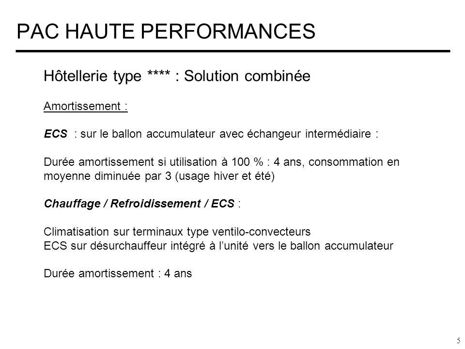 PAC HAUTE PERFORMANCES 5 Hôtellerie type **** : Solution combinée Amortissement : ECS : sur le ballon accumulateur avec échangeur intermédiaire : Duré