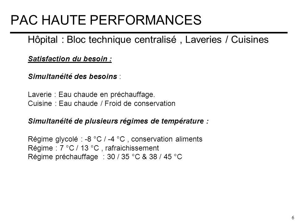 PAC HAUTE PERFORMANCES 7 Hôpital : Bloc technique centralisé, Laveries / Cuisines Méthodologie: Processus en 2 étapes sur panoplie échangeur de barrage : Niveau 1 : Production eau glycolée à – 8°C ( Refroidisseur A ): 65 % du besoin est constant dans ce régime Niveau 2 : Eau préchauffée pour les besoins Cuisine / Laverie Fourniture suivant 2 régimes en fonction des besoins et rendements : Régime N° 1 : type 38 / 45 °C Régime N ° 2 : type 30 °C / 35 °C Condenser à eau de récupération 100 %.