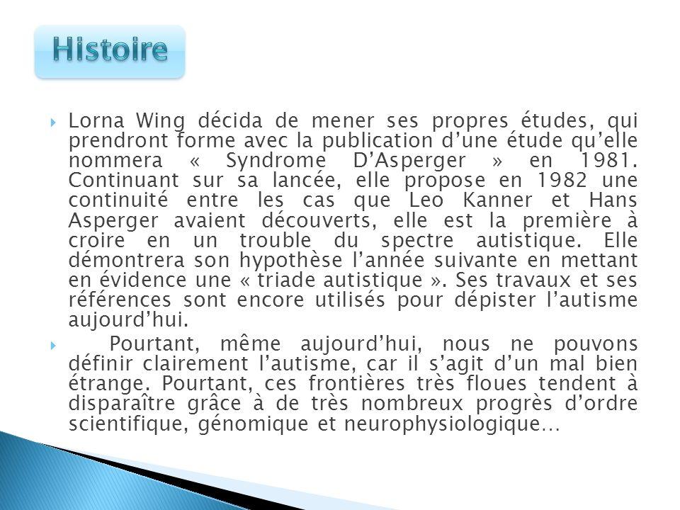 Lorna Wing décida de mener ses propres études, qui prendront forme avec la publication dune étude quelle nommera « Syndrome DAsperger » en 1981. Conti