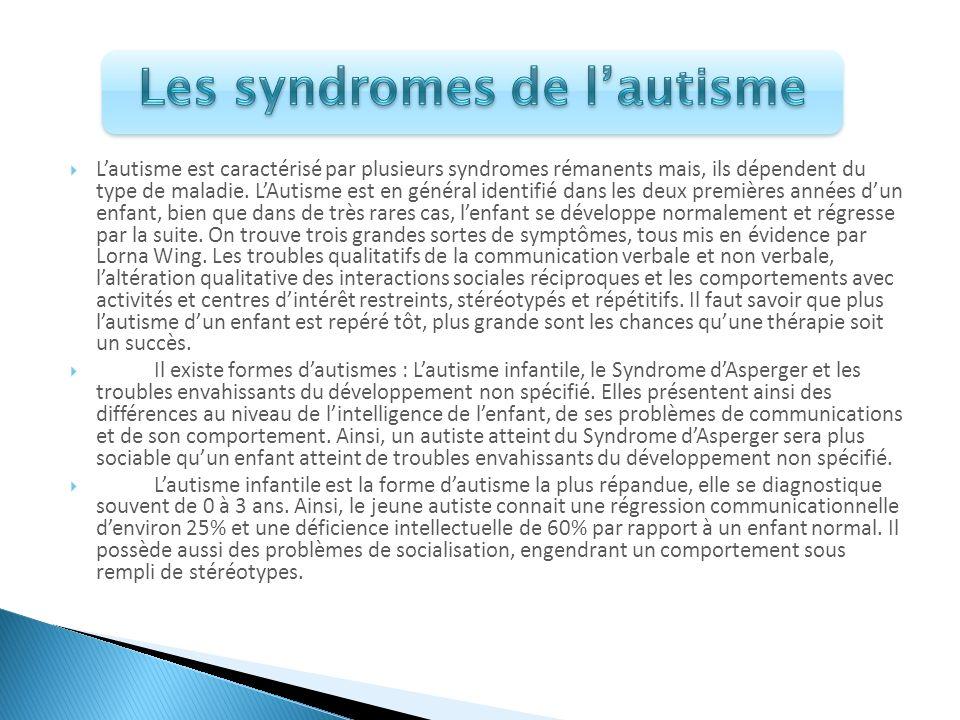 Lautisme est caractérisé par plusieurs syndromes rémanents mais, ils dépendent du type de maladie. LAutisme est en général identifié dans les deux pre