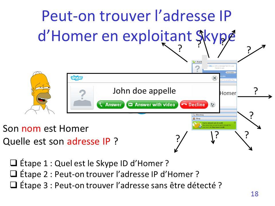 Skype ID dHomer Peut-on trouver ladresse IP dHomer en exploitant Skype Étape 1 : Quel est le Skype ID dHomer ? Étape 2 : Peut-on trouver ladresse IP d
