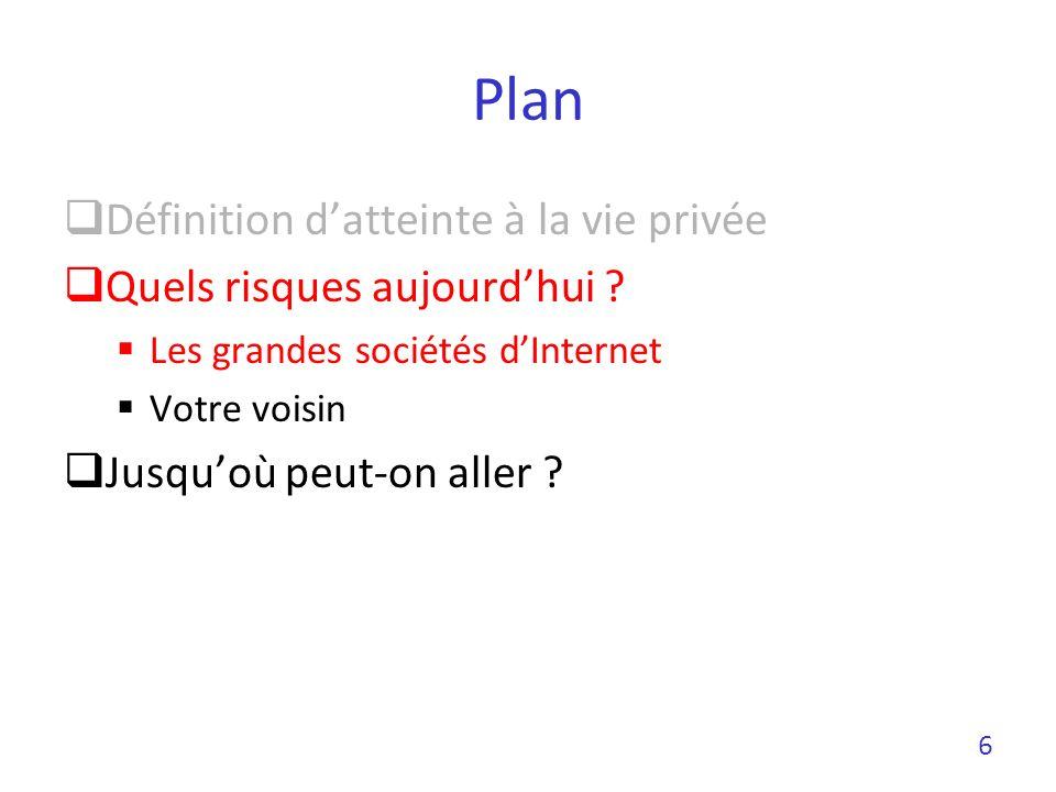 Plan Définition datteinte à la vie privée Quels risques aujourdhui ? Les grandes sociétés dInternet Votre voisin Jusquoù peut-on aller ? 6
