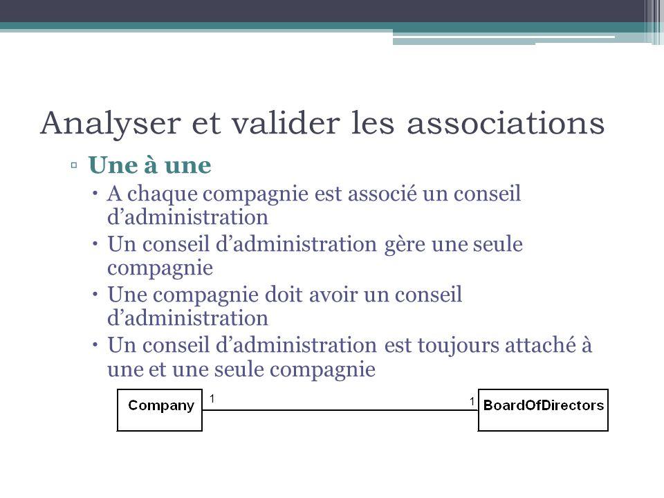 Analyser et valider les associations Une à une A chaque compagnie est associé un conseil dadministration Un conseil dadministration gère une seule com