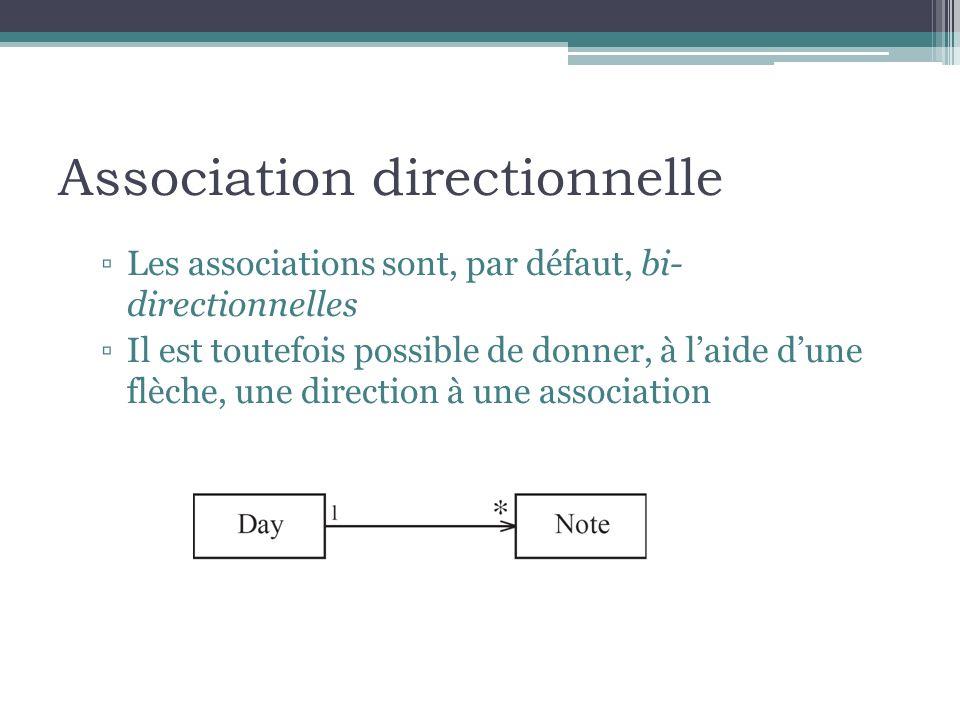 Association directionnelle Les associations sont, par défaut, bi- directionnelles Il est toutefois possible de donner, à laide dune flèche, une direct