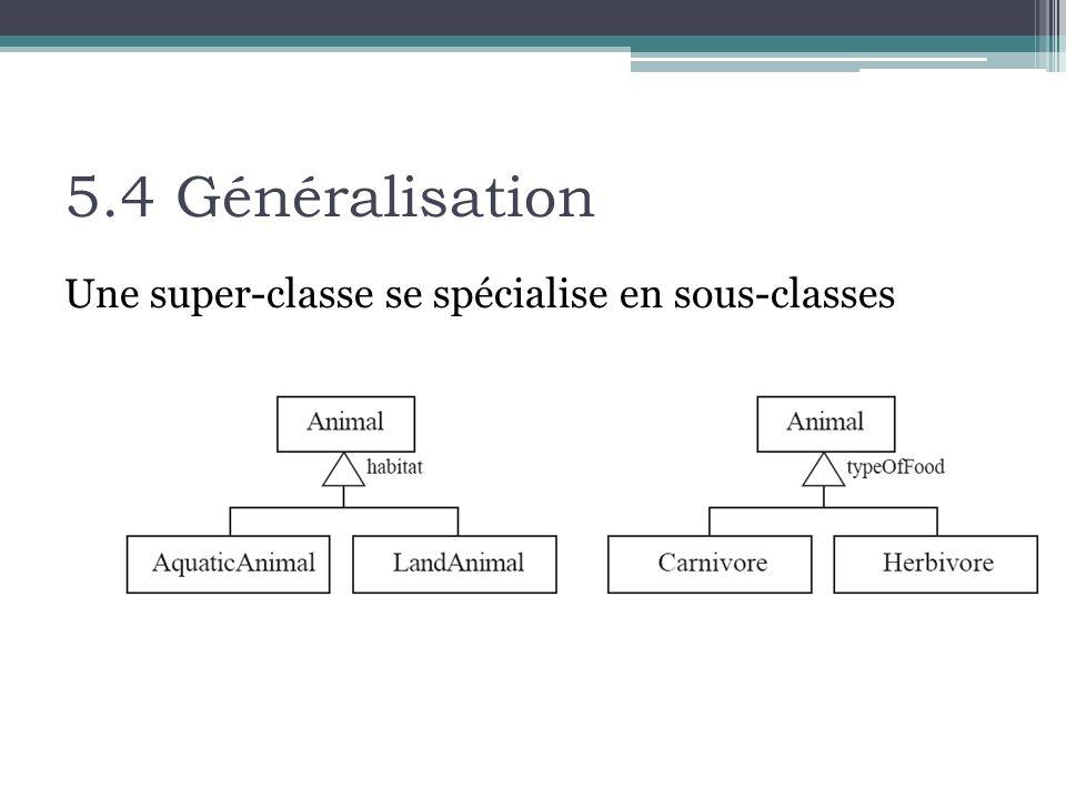 5.4 Généralisation Une super-classe se spécialise en sous-classes