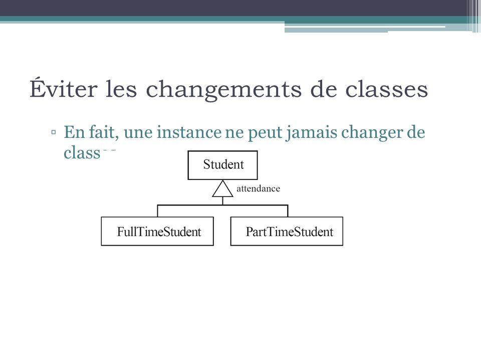 Éviter les changements de classes En fait, une instance ne peut jamais changer de classes