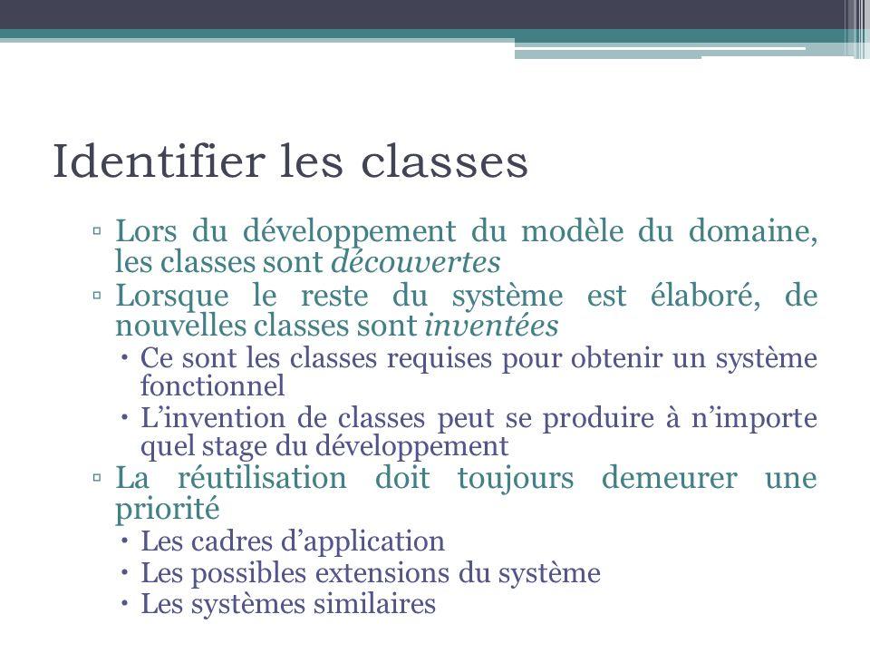 Identifier les classes Lors du développement du modèle du domaine, les classes sont découvertes Lorsque le reste du système est élaboré, de nouvelles