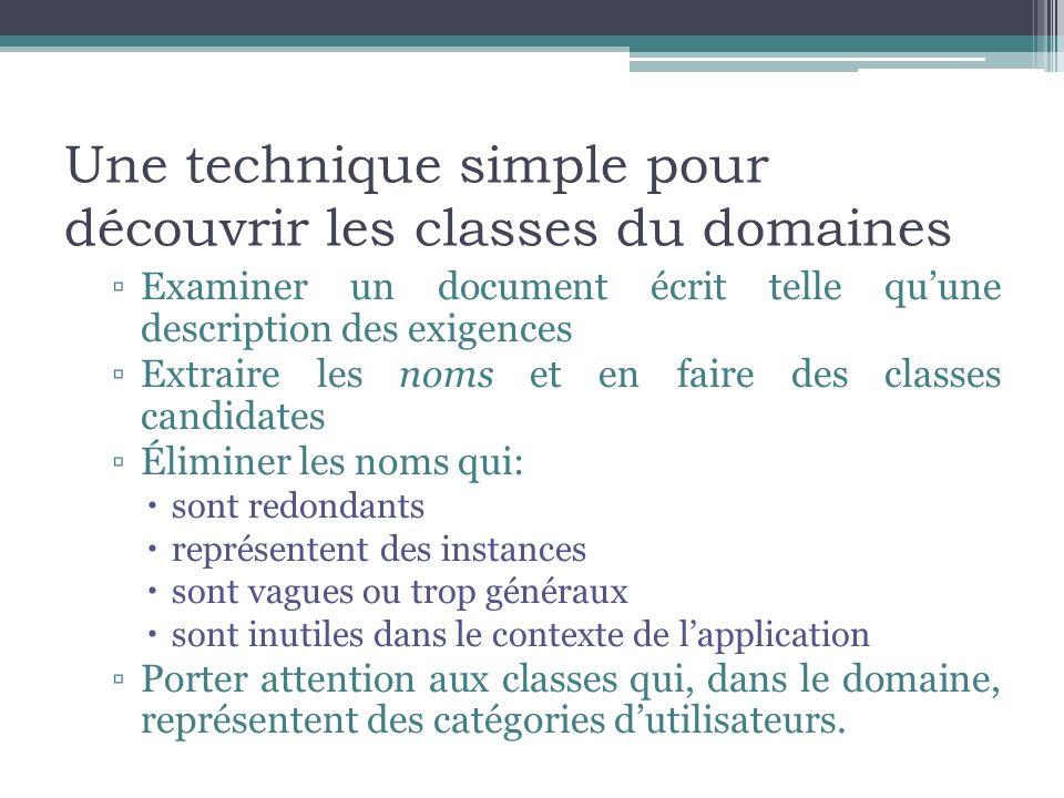 Une technique simple pour découvrir les classes du domaines Examiner un document écrit telle quune description des exigences Extraire les noms et en f