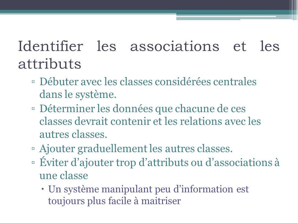 Identifier les associations et les attributs Débuter avec les classes considérées centrales dans le système. Déterminer les données que chacune de ces