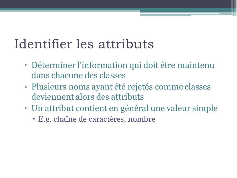 Identifier les attributs Déterminer linformation qui doit être maintenu dans chacune des classes Plusieurs noms ayant été rejetés comme classes devien