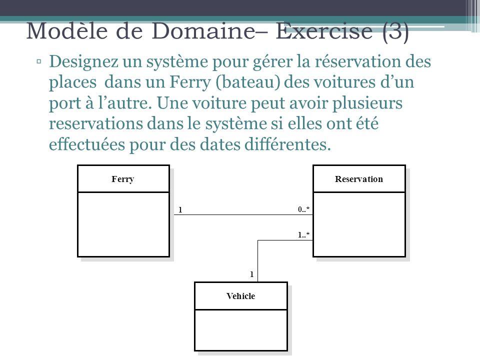 Modèle de Domaine– Exercise (3) Designez un système pour gérer la réservation des places dans un Ferry (bateau) des voitures dun port à lautre. Une vo