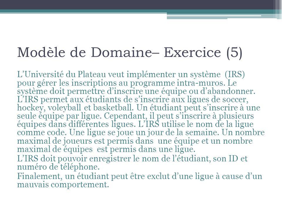 Modèle de Domaine– Exercice (5) LUniversité du Plateau veut implémenter un système (IRS) pour gérer les inscriptions au programme intra-muros. Le syst