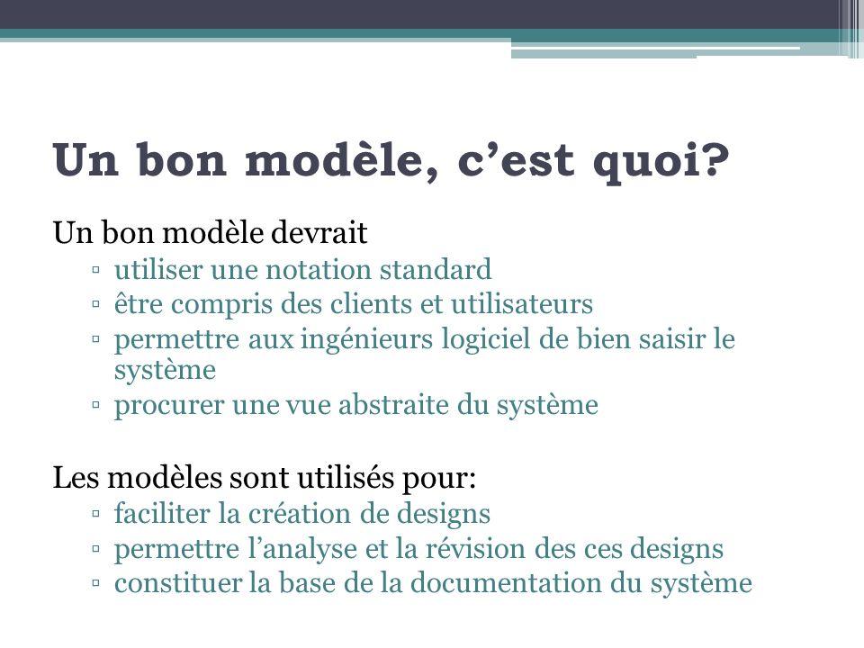 Un bon modèle, cest quoi? Un bon modèle devrait utiliser une notation standard être compris des clients et utilisateurs permettre aux ingénieurs logic