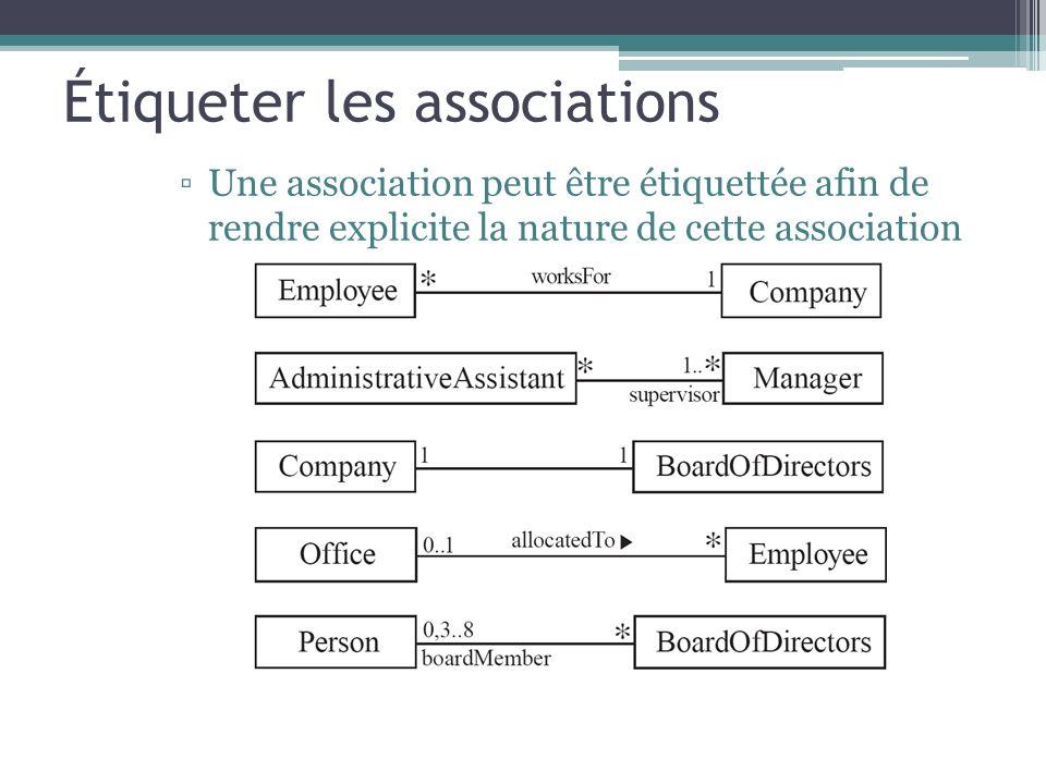 Étiqueter les associations Une association peut être étiquettée afin de rendre explicite la nature de cette association