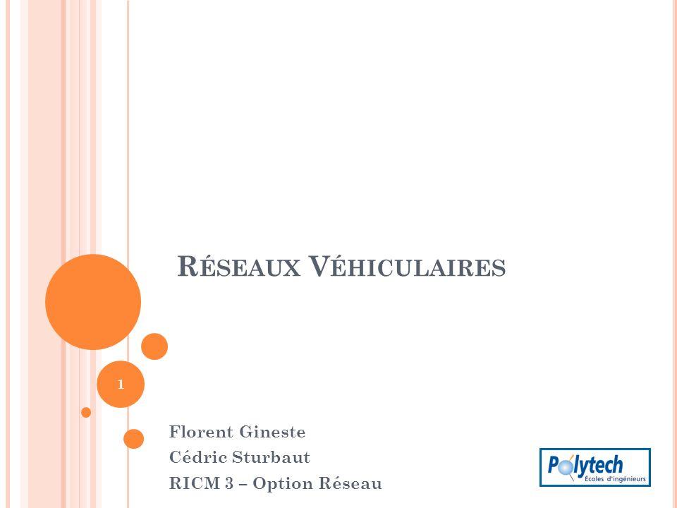 R ÉSEAUX V ÉHICULAIRES Florent Gineste Cédric Sturbaut RICM 3 – Option Réseau 1