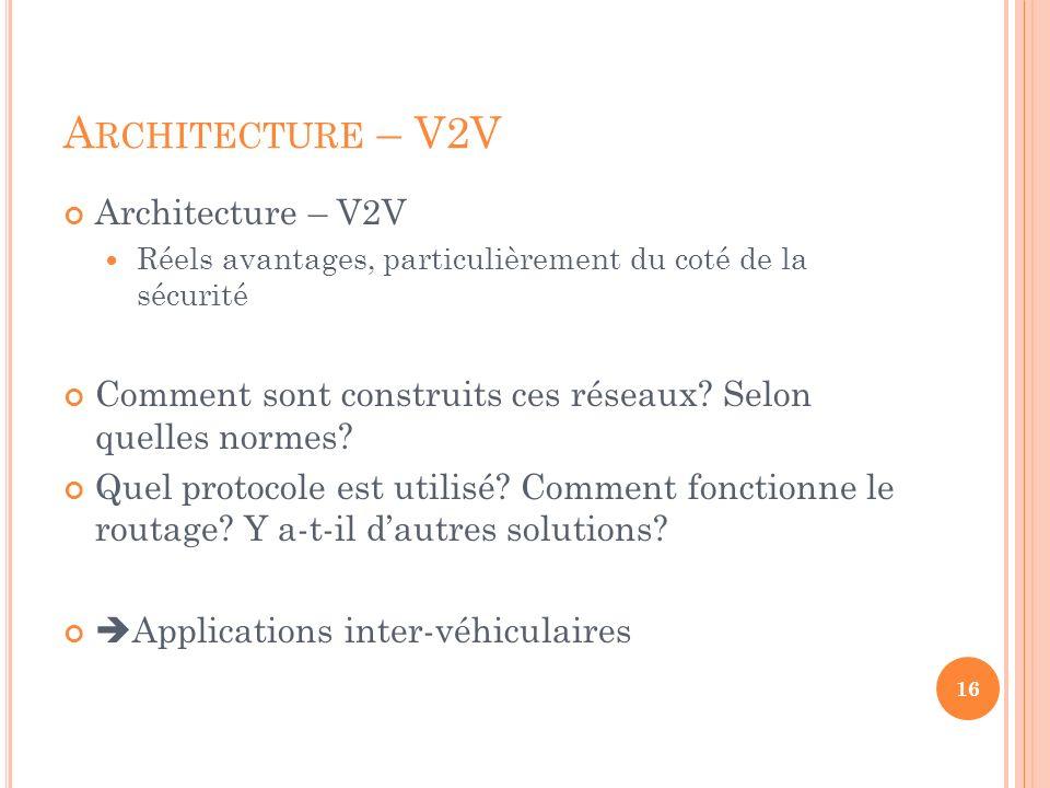 A RCHITECTURE – V2V Architecture – V2V Réels avantages, particulièrement du coté de la sécurité Comment sont construits ces réseaux? Selon quelles nor