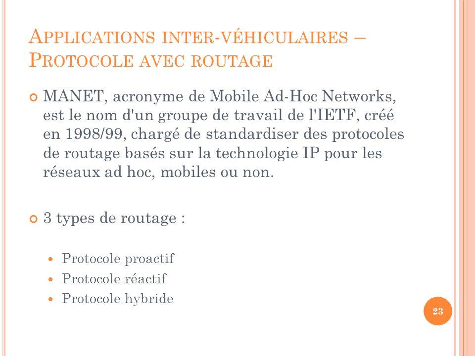 MANET, acronyme de Mobile Ad-Hoc Networks, est le nom d'un groupe de travail de l'IETF, créé en 1998/99, chargé de standardiser des protocoles de rout