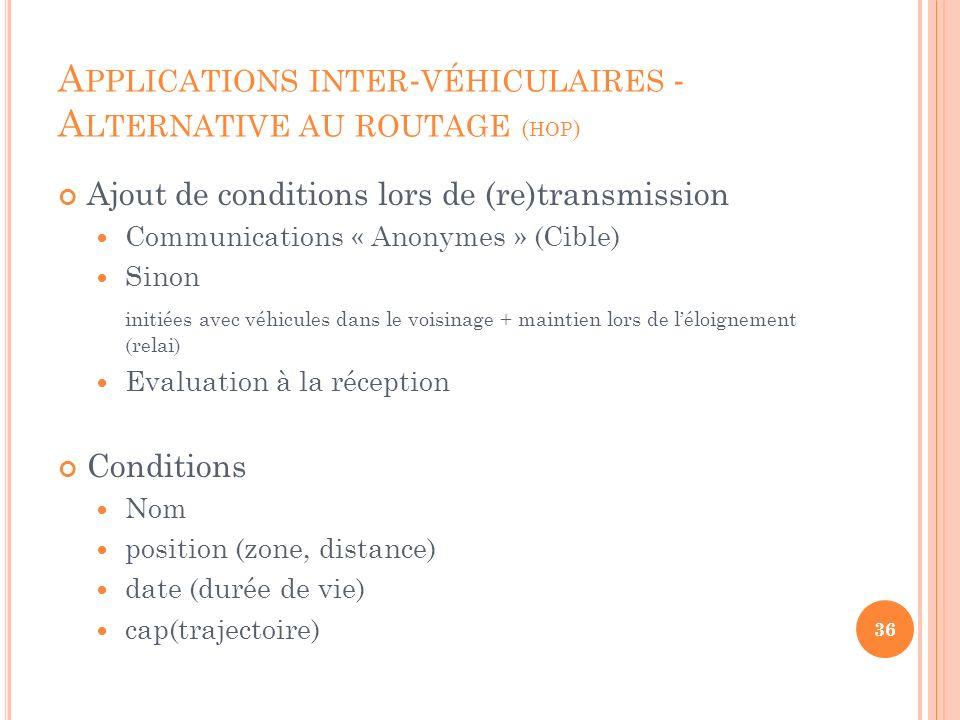 A PPLICATIONS INTER - VÉHICULAIRES - A LTERNATIVE AU ROUTAGE ( HOP ) Ajout de conditions lors de (re)transmission Communications « Anonymes » (Cible)