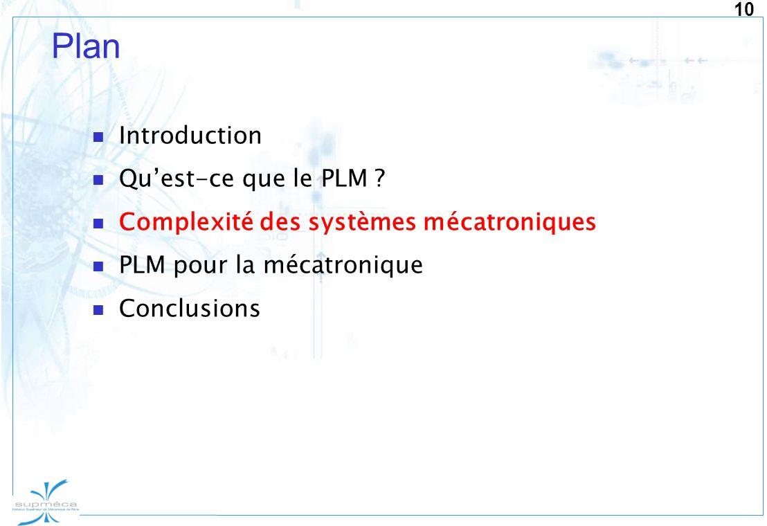 10 Plan Introduction Quest-ce que le PLM ? Complexité des systèmes mécatroniques PLM pour la mécatronique Conclusions