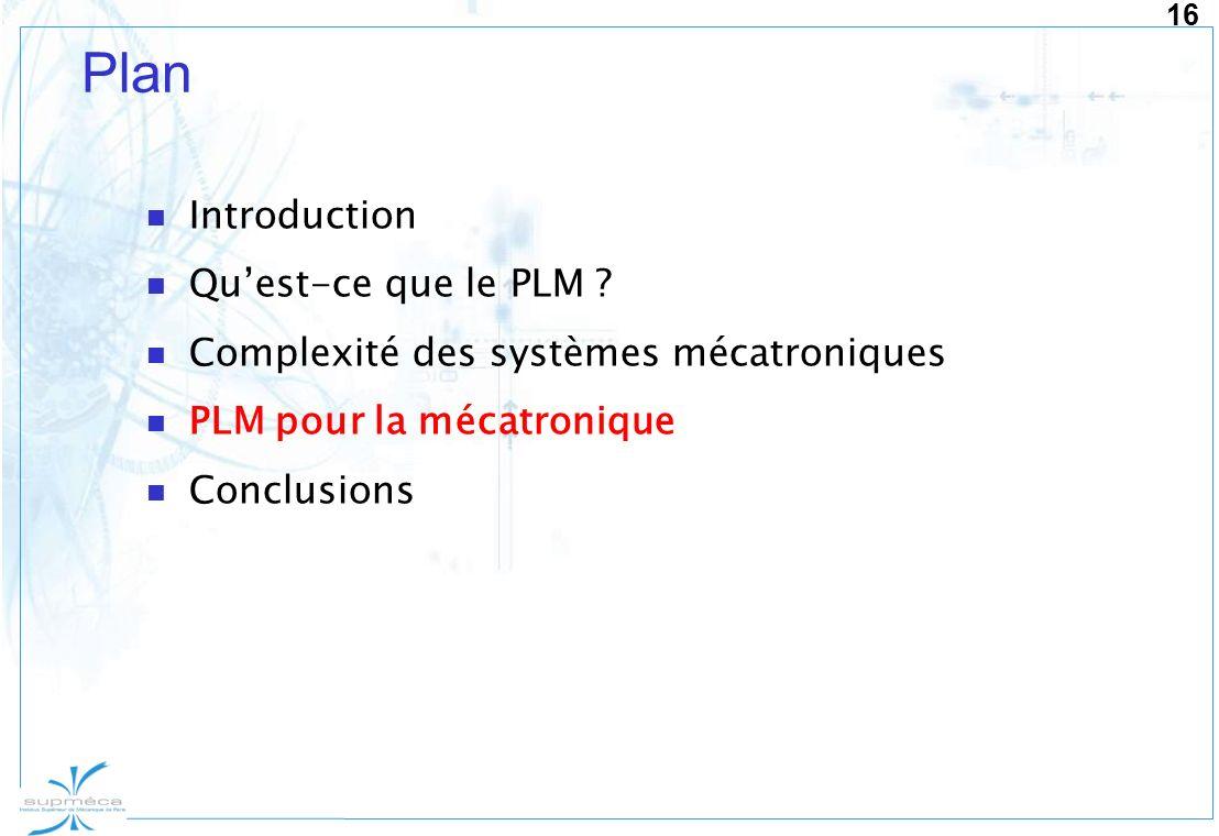 16 Plan Introduction Quest-ce que le PLM ? Complexité des systèmes mécatroniques PLM pour la mécatronique Conclusions