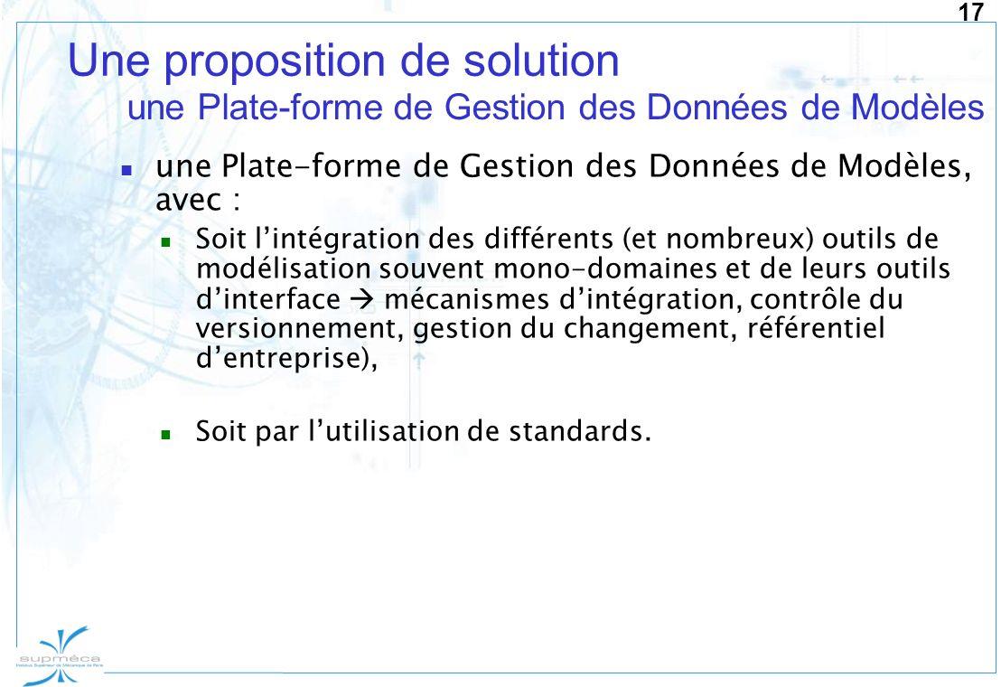 17 Une proposition de solution une Plate-forme de Gestion des Données de Modèles, avec : Soit lintégration des différents (et nombreux) outils de modé
