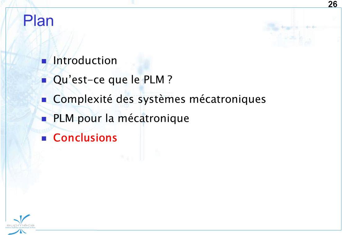 26 Plan Introduction Quest-ce que le PLM ? Complexité des systèmes mécatroniques PLM pour la mécatronique Conclusions