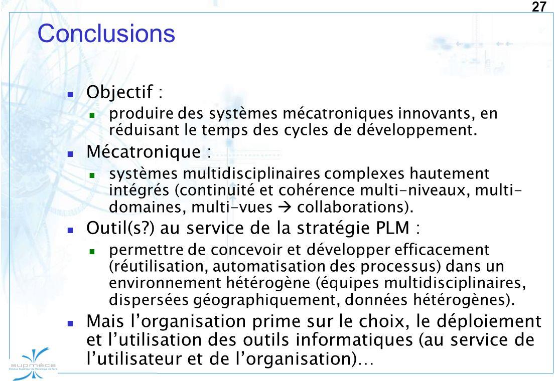 27 Conclusions Objectif : produire des systèmes mécatroniques innovants, en réduisant le temps des cycles de développement. Mécatronique : systèmes mu