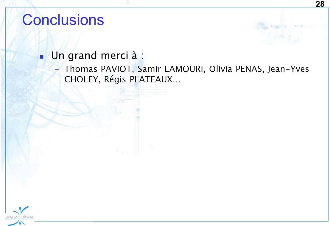 28 Conclusions Un grand merci à : –Thomas PAVIOT, Samir LAMOURI, Olivia PENAS, Jean-Yves CHOLEY, Régis PLATEAUX…