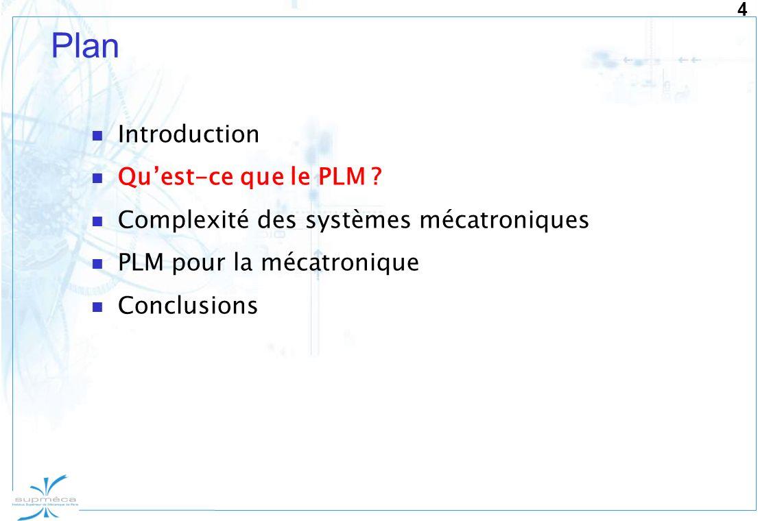 4 Plan Introduction Quest-ce que le PLM ? Complexité des systèmes mécatroniques PLM pour la mécatronique Conclusions
