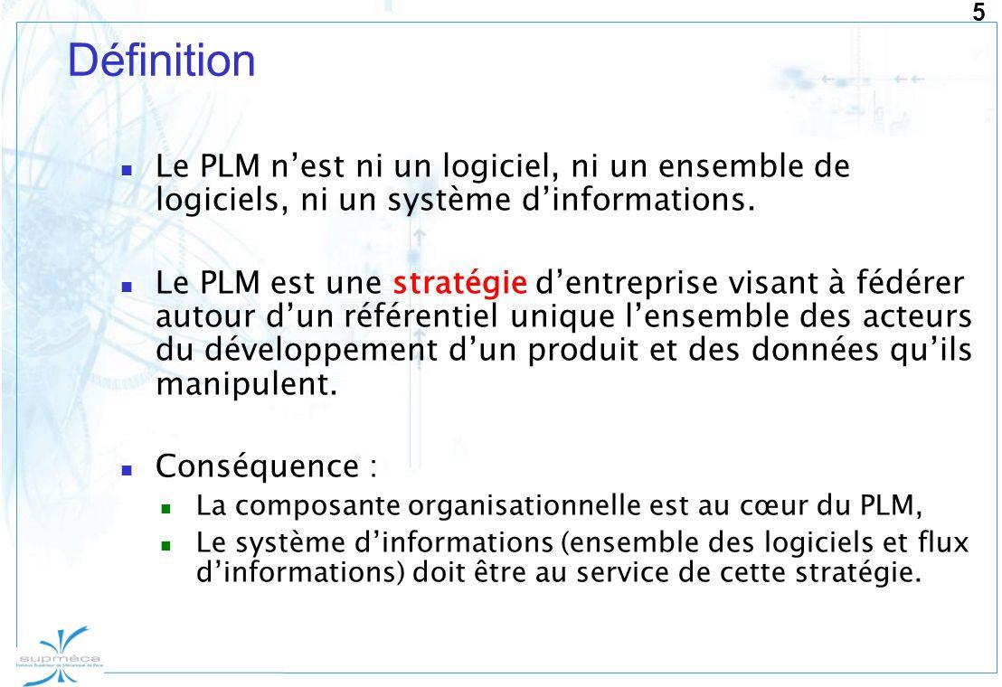 5 Définition Le PLM nest ni un logiciel, ni un ensemble de logiciels, ni un système dinformations. Le PLM est une stratégie dentreprise visant à fédér