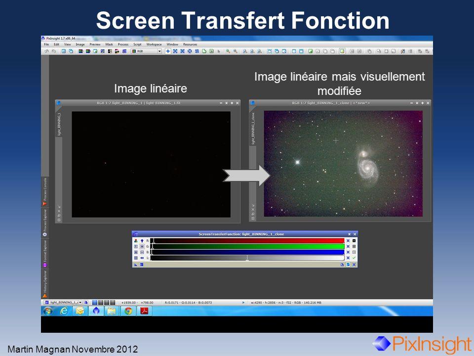 Screen Transfert Fonction Martin Magnan Novembre 2012 Image linéaire Image linéaire mais visuellement modifiée