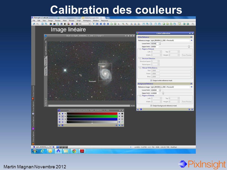 Calibration des couleurs Martin Magnan Novembre 2012 Image linéaire