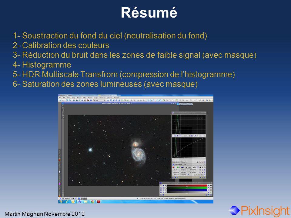 Résumé Martin Magnan Novembre 2012 1- Soustraction du fond du ciel (neutralisation du fond) 2- Calibration des couleurs 3- Réduction du bruit dans les