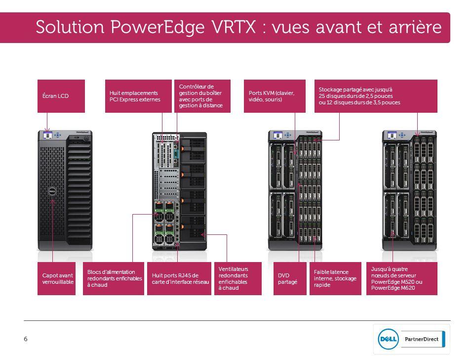 17 Solution PowerEdge VRTX : simplifier la complexité PowerEdge VRTX est une solution simple au format optimal qui gère et consolide les applications métiers dans deux ou trois serveurs virtualisés avec le stockage partagé, le tout à un prix abordable.