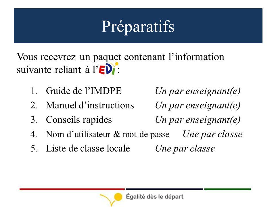 Préparatifs Vous recevrez un paquet contenant linformation suivante reliant à l : 1.Guide de lIMDPEUn par enseignant(e) 2.Manuel dinstructionsUn par enseignant(e) 3.Conseils rapidesUn par enseignant(e) 4.Nom dutilisateur & mot de passe Une par classe 5.Liste de classe localeUne par classe