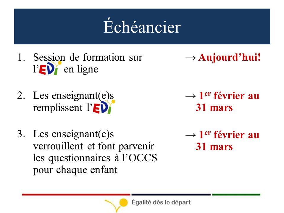 Échéancier 1.Session de formation sur l en ligne 2.Les enseignant(e)s remplissent l 3.Les enseignant(e)s verrouillent et font parvenir les questionnaires à lOCCS pour chaque enfant Aujourdhui.